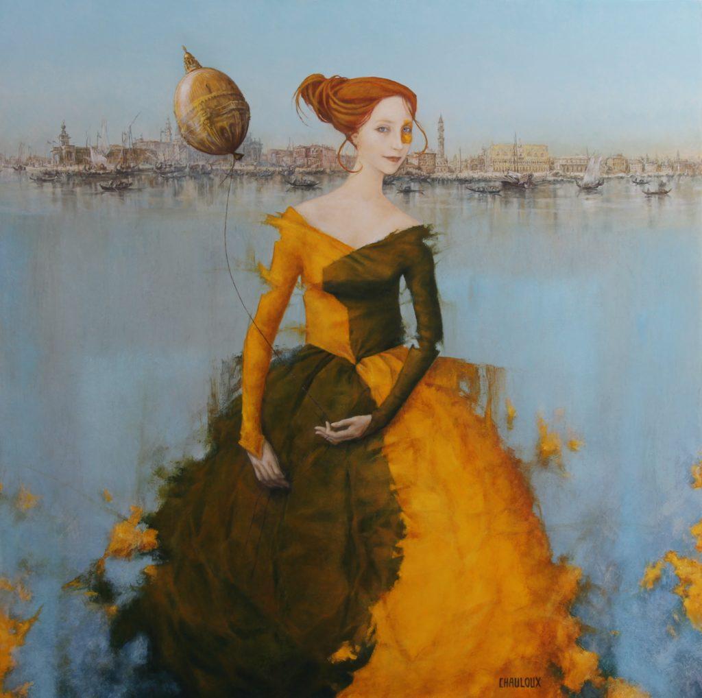 La Dame du Grand Canal 80 x 80 cm